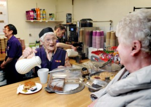 The WRVS Cafe in the Grounds of St James's Hospital, which is being closed down by the NHS trust, against the wishes of the volunteers and its many customers. Pictured serving volunteer Jean Batty.